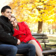 Affectionate couple in park - Stockfoto