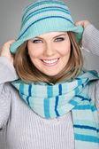 Woman with hat smiling — Stock Photo