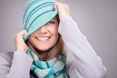 Smiling funny winter girl — Stock Photo