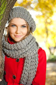 Autumn portrait of a young beauty — Stock Photo