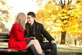 Young couple in love -autumn love — Stock Photo