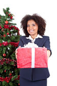 Afro woman with box gift — Stock Photo