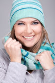 Portrait of smiling winter girl — Stock Photo