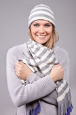 Winter girl with hat and scarf — Stock Photo
