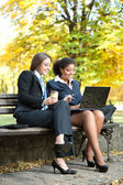 Two businesswomen working — Stock Photo