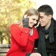 Love couple enjoying themselves in park — Foto de Stock