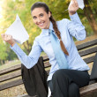 Happy businesswoman with documents — Stock Photo