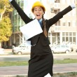 Happiness female engineer — Stock Photo