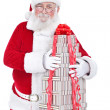 Santa hugging big gift boxes — Stock Photo