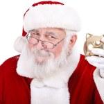 Santa with Piggy Bank — Stock Photo