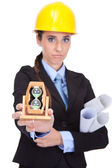 Female architect showing a time — Stock Photo