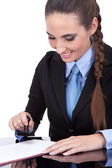 Notary public stamping document — Stock Photo
