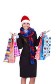 Christmas woman with shopping bags — Stock fotografie
