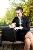 Smiling businesswoman on break, outdoor — Stock Photo