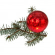 Christmas tree ball on white background — Stock Photo