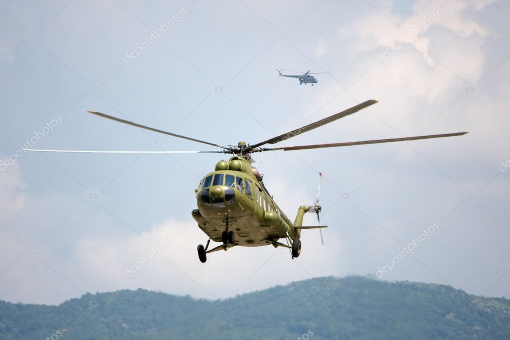 Two fire fighting helicopter in the air — Stock Photo #6827082