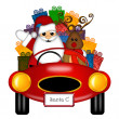 Santa and Reindeer in Red Sports Car with Presents - Stock Photo