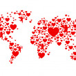 Stock Photo: Red and white love world map
