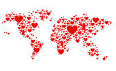 Red and white love world map — Stock Photo