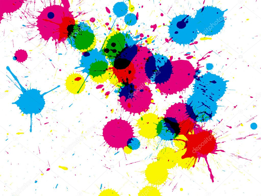 Colored Ink Splatters Colorful Ink Splatter — Photo
