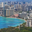 Waikiki Beach and skyline of Honolulu, Hawaii — Stok Fotoğraf #6985101