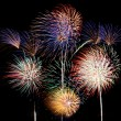 Multicolored fireworks square - Foto Stock