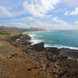 View of Sandy Beach Park from the Halona Blowhole in Hawaii vert - 图库照片