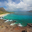 View of Rabbit Island and Makapu'u Beach Park in Hawaii - 图库照片