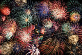 Multicolored fireworks fill the frame — Stock Photo