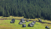 Traditional mountain village in Transylvania,Romania — Stock Photo
