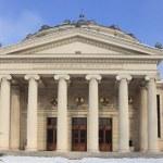 The Romanian Athenaeum in winter — Stock Photo