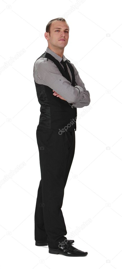 Young confident businessman standing up against a white background. — Stock Photo #7122293