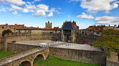Entrance in Carcassone fortified town — Stock Photo