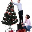 Decorating the Christmas tree — Foto de Stock