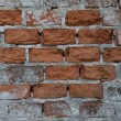 Old facade showing bricks - Stock Photo