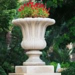 Ornamental stone flowerpot — Stock Photo