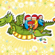Dragon New Year Fly Child Present — Stock Vector