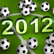 2012 in the middle with many soccerballs - Stock Photo