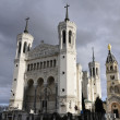 Large view of Fourviere cathedral in Lyon city — Stock Photo