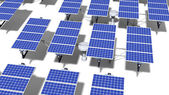 Field of articulated solar panels at midday — Stock Photo