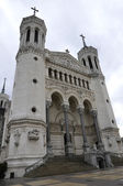 Front of Fourviere cathedral in Lyon city — Stock Photo
