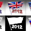 Five flags on a pole with 2012 design at bottom — Stock Photo
