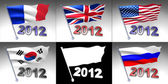Vijf vlaggen op een paal met 2012 ontwerp onderaan — Stockfoto