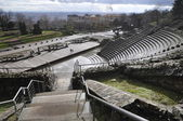Wide view of a Roman theatre in Lyon city — Stockfoto