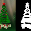 Stock Photo: Green design pine and some gifts