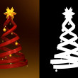 Red design pine and golden balls — Stockfoto #7455647