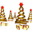 Many gifts under five golden design pines — Foto de stock #7499498