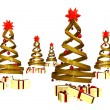 Many gifts under five golden design pines — Stock Photo #7499498