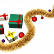 Golden piece of tinsel with colored gifts — ストック写真