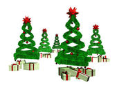 Many gifts under five green design pines — Stock Photo